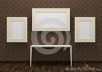 Gallery interior with table and empty white frames