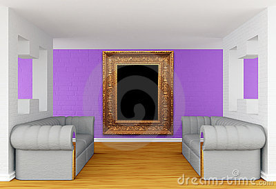Gallery with luxurious sofas