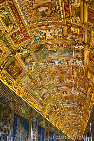 Gallery of Maps in Vatican Museum Editorial Stock Image