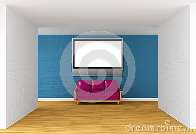 Gallery with purple couch and flat TV