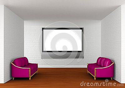 Gallery with purple couches and lcd TV
