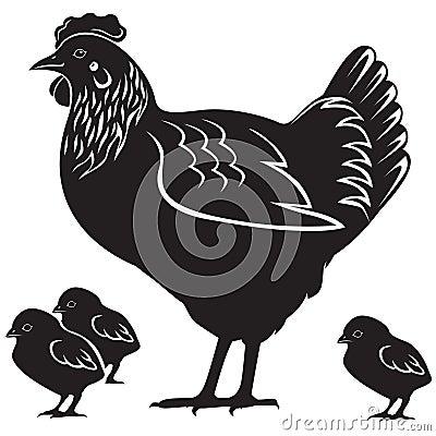 Gallina con los polluelos