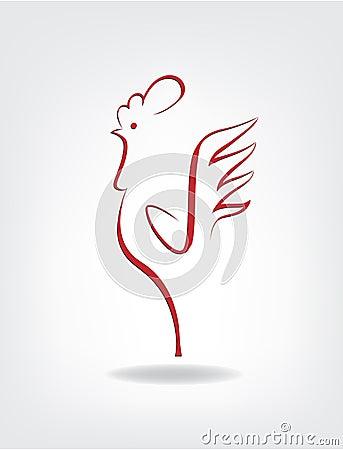 Gallo estilizado en el fondo gris