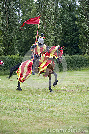 Galloping horse and red flag knight
