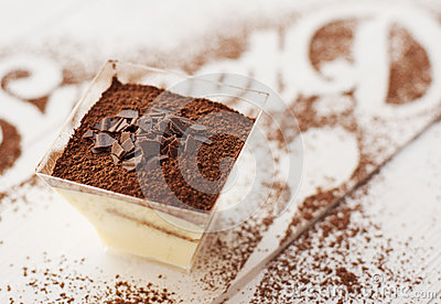 Galss of tiramisu