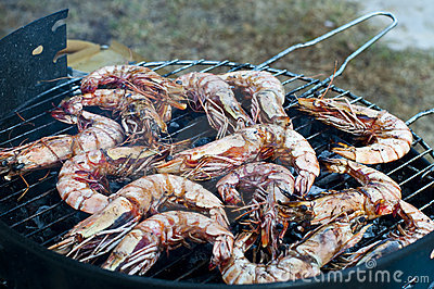 Gambas on barbecue
