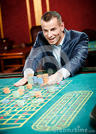 Gambler stakes playing roulette