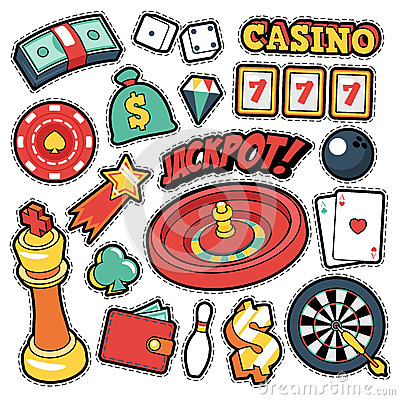 Free Gambling Casino Badges, Patches, Stickers - Jackpot Roulette Money Cards In Comic Style Stock Photography - 80161592