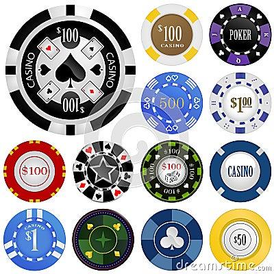 Free Gambling Chips Vector Set Royalty Free Stock Image - 8209196
