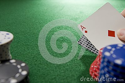Gambling Hand with Ace