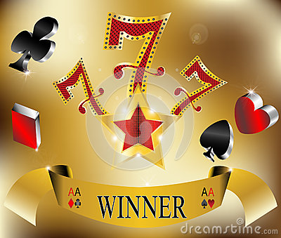 Gambling winner lucky seven 777 banner gold