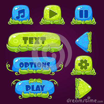 Free Game Buttons With Nature Elements Royalty Free Stock Photo - 57537615