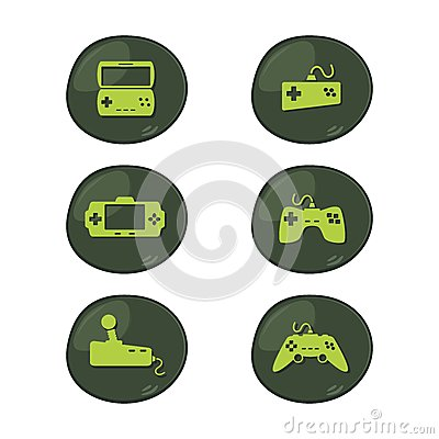 Game console icon set Vector Illustration