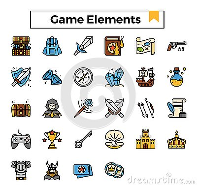 Game elements filled outline design icon set. Stock Photo