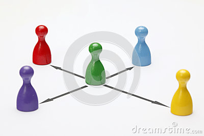 Game figurines on white background