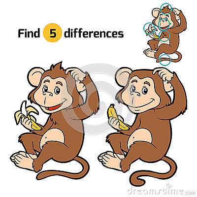 Free Game For Children: Find Differences (little Monkey) Royalty Free Stock Photography - 60178927