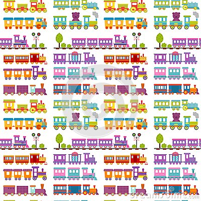 Free Game Gift Kids Train Seamless Pattern Background Vector Travel Railroad Transportation Toy Locomotive Illustration. Royalty Free Stock Photo - 119466235