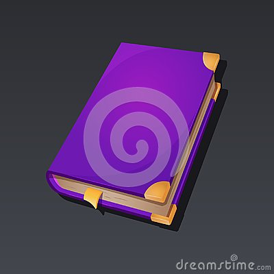 Game icon of magic book in cartoon style. Bright design for app user interface. Book of magic, achievement, skill, spell Vector Illustration