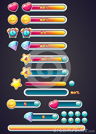 Free Game Icons With Progress Bar, Digging, As Well As A Progress Bar Download For Computer Games Stock Images - 45475714