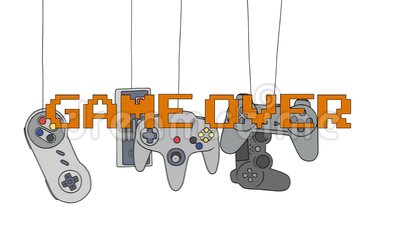 GAME OVER on Different Joysticks Background Hanging on their Wire Stock Photo