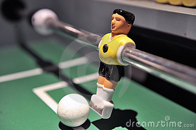 Tabletop football player with ball
