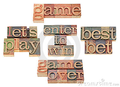 Game - word collage in letterpress type