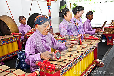 Gamelan orchestra in Ratu Boko palace ,Yogyakarta, Indonesia. Editorial Stock Image