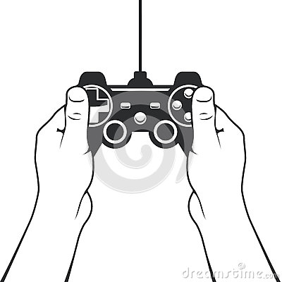 Gamepad in hands icon - game console controller Vector Illustration
