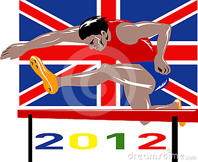 Games 2012 Track and Field Hurdles British Flag
