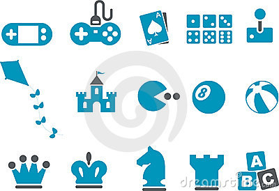 Games Icon Set Editorial Stock Photo