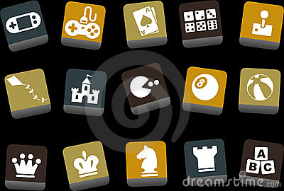 Games Icon Set Editorial Photo