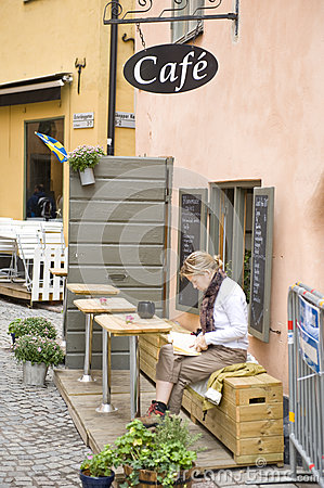 Gamla stan street cafe Editorial Stock Image