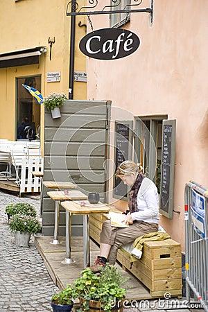 Gamla stan street cafe Editorial Stock Image