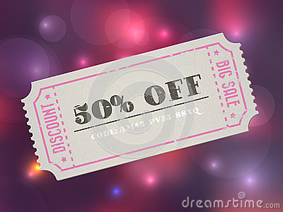 Gammal kupong för försäljning för papper för konsertvektortappning med kod