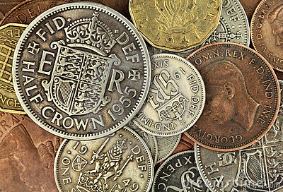 Gammala brittiska mynt