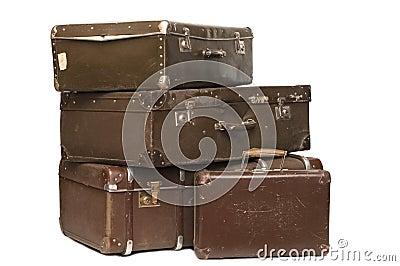 Gammala resväskor för hög