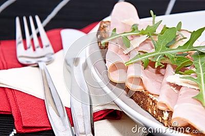 Gammon on bread