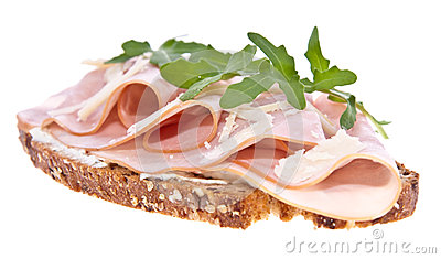 Gammon on bread isolated on white