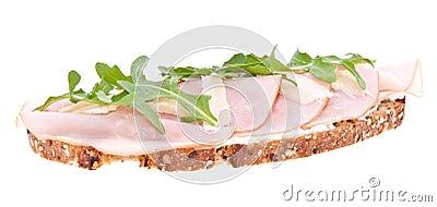Gammon on bread isolated on white