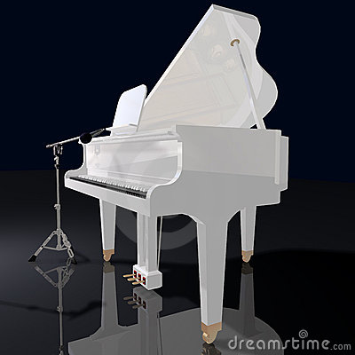 Gand piano and microphone on a black background