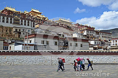 Ganden Sumtseling Monastery in Shangrila, China Editorial Stock Photo