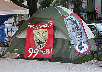 Gandhi and Anonymous Pictures on Occupy DC Tent Editorial Photography