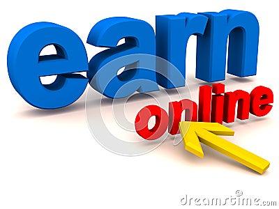 Gane el dinero en línea que hace concepto