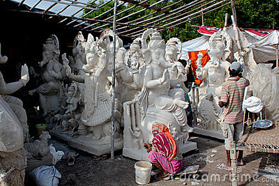 Ganesh idol makers Editorial Stock Image