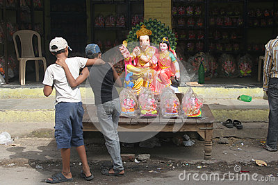 Ganesh idols for sale during Hindu festval Editorial Photo