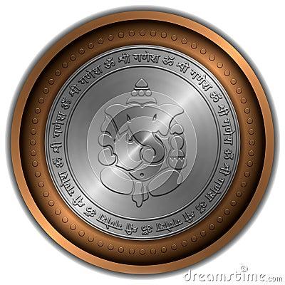 Ganesha Sign Metallic Coin