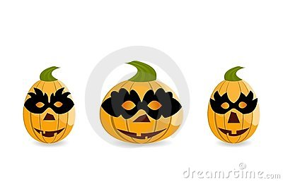Gang of pumpkins dressed in masks