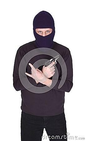 Gang Violence Man Crook Gun Isolated