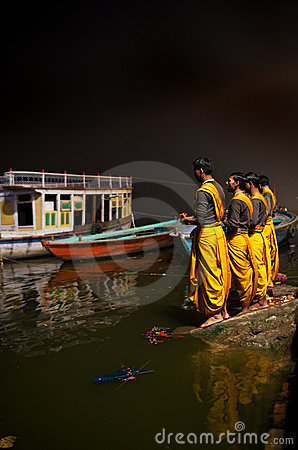 Ganga Aarti ceremony at Lalitha ghat in Varanasi Editorial Stock Photo