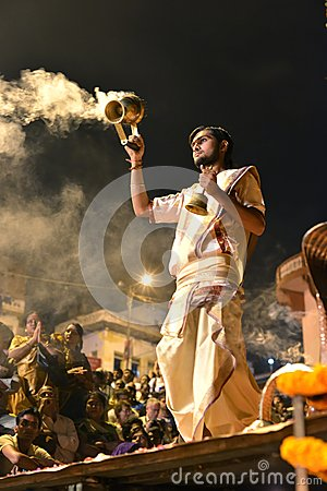 Ganga Aarti Ceremony in Varanasi Editorial Image